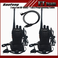 Wholesale Pc Walkie Talkie - Wholesale- 2 PCS set Walkie Talkie Two-way Radio Baofeng 888s BF-888S Portable radio Tranceiver with VHF UHF 5W 16CH + 1 prgramming cable