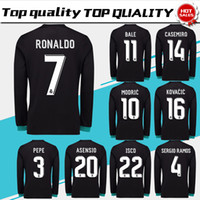 Wholesale Polyester Long Sleeve Shirts - New Real Madrid away black Soccer Jersey 17 18 Real Madrid Long Sleeve soccer shirt 2018 Ronaldo Bale Football uniforms Asensio Isco sales