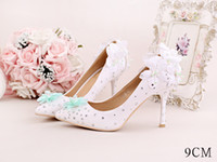White Pointed Toes Femmes Beaded Fleur demoiselle d'honneur Chaussures de Printemps Prom Evening Night Club Party Talons 7 9CM 102