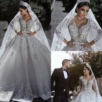 neuer ballkleid hoher kragen großhandel-Luxus-Spitze-Ballkleid-Hochzeits-Kleider V-Ausschnitt-Spitze-Kristallbrautkleider Robe de Mariée plus Größen-lange Hülsen-Hochzeits-Kleid-Gewohnheit