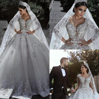 Wholesale Cathedral Wedding Dress Embroidery - Luxury Lace Ball Gown Wedding Dresses V Neckline Lace Crystal Bridal Gowns Sweep Train Plus Size Long Sleeve Wedding Dress