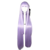 Wholesale Purple Hair Wig Ponytail - Purple Cosplay Wig with Kniting Braid Ponytail 100cm Long Synthetic Hair High Temperature Fiber Free Shipping