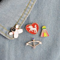 Unisex sports lapel pins - set Bow Arrow Horse knight Bowling Badminton Sports Brooch Pin Bag Jacket Sportswear Collar Lapel Badge Fashion Jewelry