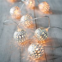 Wholesale Lights For Outdoor Ornaments - Christmas Lmitation Metal Ball Lights battery models LED String Light for Outdoor Patio Lawn Landscape Garden Home Wedding Holiday