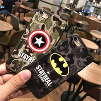 Wholesale Thin Cell Phones For Men - For iphone7 8 plus cell phone Batman cases iphone6s Matte individual tide men ultra - thin relief Superman protective cover free shipping