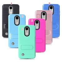 Wholesale trio cases - Stand Brush Hybrid Card Slot Hard PC TPU Case For LG LV3 5.0'' MS210 K8 2017 Aristo ZTE Avid Trio Z831 Prestige N9132 Armor Box Phone Cover