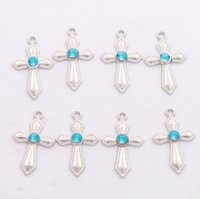Wholesale Wholesale Rhinestones Shape - Sword Shaped Rhinestone Crystal Cross Charms 300pcs lot 12X20mm 6Colors Pendants Jewelry Findings & Components Fit Bracelets Necklaces