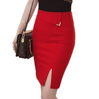 Wholesale Denim Sexy Women Skirt - Slim Office Skirt Faldas Women Sexy Elastic High Waist Pencil Skirt Step Office Formal Skirt Saias Skirts