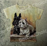 Wholesale Vintage Ship Painting - Track Ship+New Vintage Retro T-shirt Top Tee Two Brother Scottie Terrier Dog in Oil Painting Forest 1388