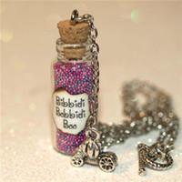 ожерелье феи бутылки оптовых-12шт Бибиди-Бибиди-Буу бутылка волшебного ожерелья с тыквой перевозки очарование Золушка Фея ожерелье в Серебряном