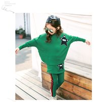 Wholesale Bat Sleeve Girls Shirt - 2017 spring & autumn children suit girl's Bat sleeves T-shirt + Skirt pants 2pcs suit Middle child casual two set