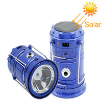 Wholesale Camping Lamps Led - 2017 solar lamp New Style Portable Outdoor LED Camping Lantern Solar Collapsible Light Outdoor Camping Hiking Super Bright Light