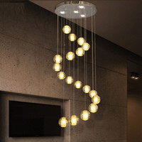Wholesale Led Shower Lighting Fixtures - led 18 Lights Modern LED Crystal Chandelier Light Fixture Bubble Ball Loft Stairwell Crystal Light Meteor Shower Cristal Chandeliers Lamp