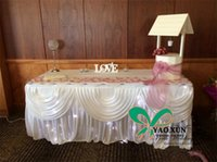 Wholesale Table Cloths Skirts - White Color 100% Ice Silk Table Skirt \ Table Cloth Skirting With Drape Swag Include The Led Lighting
