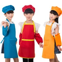 Wholesale Children Aprons oversleeve Hat kerchief Customizable logo Polyester fiber draw Stain proof size M L XL