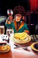 Wholesale Portrait Painting Gift - Banana Monkey -Hand Painted Portraits art oil painting on canvas 24x36 inch gift