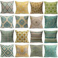 Wholesale Vintage Flower Throw - Hot Sale Vintage Geometric Flower Cotton Linen Throw Pillow Case Cushion Cover Home A6UL high quality CC0002