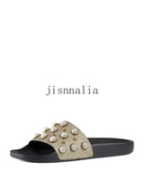 Wholesale womens slide sandals - new arrival mens and womens 2017 fashion causal flat slide sandals with Pearl effect and gold toned studs