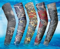 Wholesale Tattoo Sun Sleeves - 100 Colors 10pcs Cycling Sports Tattoo UV Block Cool Arm Sleeves Armwarmer Cover Sun Protection Skull Bike Bicycle Arm Warmer