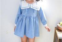 Wholesale Navy Blue Striped Dress Kids - Kids preppy style princess dress 2017 new autumn girls stripe navy collar pleated dress children long sleeve clothes Wathet Blue C0878