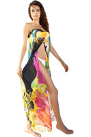 Wholesale Print Kaftan - Cryg Newest Floral Print Chiffon Beach Cover up Sarong bathing suit kaftan beach swimsuit cover up saida de praia
