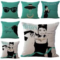 ingrosso copertine di hepburn di audrey-Audrey Hepburn Pillow Case Cuscino In Lino Cotone Gettare Federe divano Letto Cuscino copre il trasporto di goccia PW463