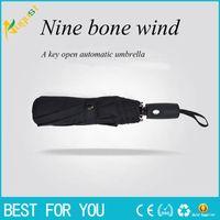 Wholesale Black Rain Umbrella Man - new hot Three fold automatic umbrella men business folding gift umbrella
