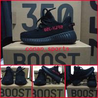 Wholesale Kanye West Kids - New Zebra Baby Kids Shoes Kanye West Season 3 SPLY 350 Boost V2 Boys Girls Sneakers Children Athletic Shoes Black Red