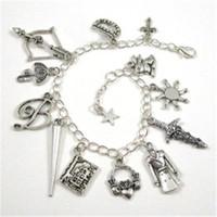 Wholesale Vampire Bracelet Charms - 12pcs Buffy the Vampire Slayer Charm Bracelet cross Vampire Fangs charm bracelet