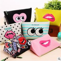 Wholesale Best Sexy Ladies - Women Handbags Sexy Lip Lady Girls Storage Bags PU leather Modern Girl Large Capacity Waterproof Makeup Bags Best Gifts 8 styles