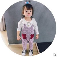 Wholesale Cute Baby Girls Knitting Suits - Toddler kids suits Baby girls pure color lapel tops+double pockets suspender knitting jumpsuit 2pcs Autumn sets Infants Cute outfits C1639