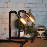 Wholesale Bronze Art Deco Lamps - Industrial Vintage Retro Steel Pipe Desk Lamp Edison Waterpipe Table Light Dining Reading Bar Bedroom Balcony Living Room Loft Cafe Desk Lam