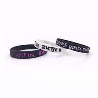 Wholesale Justin Bieber Charms - 2pcs Justin Bieber Wristbands 3 Colors For Choose Purpose World Tour Silicone Bracelets For Music Fans