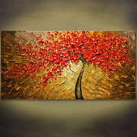 Wholesale Tree Life Paintings - Pure Hand Painted Modern Wall Decor Abstract Tree Art Oil Painting On High Quality Canvas.Multi customized sizes 8hk
