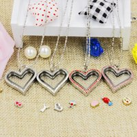 Wholesale Love Magnetic Necklace - Hot selling novelty love heart magnetic crystal DIY floating memory living locket pendant gift for girls women daughter with free chains