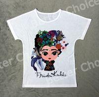 Wholesale T Shirt Women Colorful - Track Ship+New Vintage Retro T-shirt Top Tee Cute Mini Frida Kahlo Colorful Lily Flower Big Eye Cartoon 0943