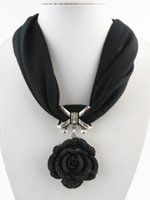 Wholesale Scarves Pendants Short - Fashion tassel pendant scarves for women shawl black rose short necklace jewelry pendant scarf