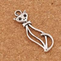Wholesale Jewelry Antique Lady Pendant - Open Lady Cat Spacer Charm Beads 100pcs lot Antique Silver Pendants Alloy Handmade Jewelry DIY 11x33.8 mm L1162