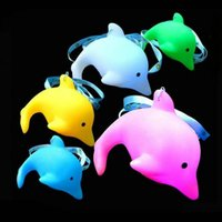 Wholesale Plastic Dolphin - Colorful Blue Pink White Yellow Green Toys Dolphins Colors Dolphins LED Necklace Toys YH969