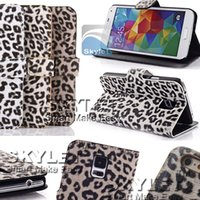 Wholesale Leopard Silicone Iphone Case - Iphone 6s Leather Case Leopard Print Style Silicone Case Wallet Case For Samsung Note 5 Opp Package
