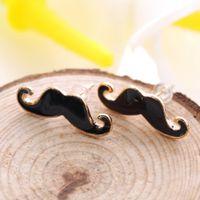Wholesale Earrings Studs Moustache - Fashion cute sexy mustache earrings earrings Black Handlebar Mustache Moustache Beard Ear Studs Earrings
