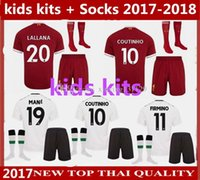 Wholesale Kids Green Socks - KIDS kits + Socks 17 18 Gerrard COUTINHO Soccer Jersey home 2017 2018 MANE Sturridge Lucas Away football shirt 10 set ship DHL