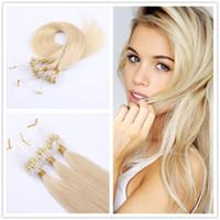 16 paket insan saçı toptan satış-Döngü saç uzantıları 100 adet paketi ipeksi düz Brezilyalı insan saçı mikro halka linkler saç uzantıları