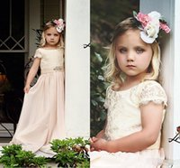 Wholesale white rhinestone cheap wedding dress online - Cheap Flower Girl Dresses for Bohemia Vintage Wedding Jewel Neck with Short Sleeve Beaded Empire Waist Baby First Holy Communion Dress