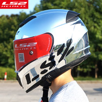 Wholesale Ls2 Racing - Hot sale LS2 ff390 Chrome full face motorcycle helmet with inner sun visor Racing moto Helmets man motorbike capacete motoqueiro