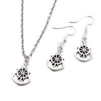 Wholesale Anchor Necklace Set - Fashion European and American Style Silver Plated Zinc Alloy Necklace Earrings Set Jewelry For Women Anchor Shape BKS005
