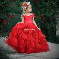 Wholesale Satin Ruffle Baby Dress - Custom Made Red Flower Girl Dresses for Bohemia Wedding Ball Gown Crystals Ruffles Satin 2017 Lace Crew Neck Baby Pageant Communion Dresses