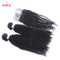 Wholesale Double Lace Top - 4Pcs Lot Indian Kinky Curly Virgin Hair With Closure Raw Indian Virgin Remy Human Hair Weave Bundles With Top Lace Closures Double Wefts