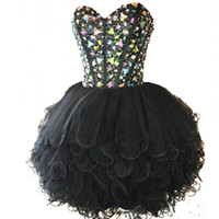 Wholesale deco brooch - Sweetheart Black Homecoming Dresses 2016 Sweetheart Beaded with Crystals A Line Tulle Ruffles Short Prom Party Gowns Formal Dress