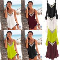 Wholesale Black Sequin Tank Top - Ladies Summer Chiffon Casual Sequins Splice Patchwork Panelled V-Neck Sleeveless Tank Jumper Tops Womens Vest Blouse T-Shirt Shirt Tee